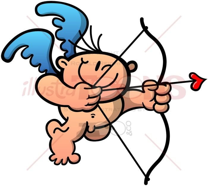 Cupid drawing a bow to shoot a love arrow - illustratoons