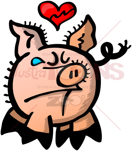 Cute pig with broken heart and weeping - illustratoons