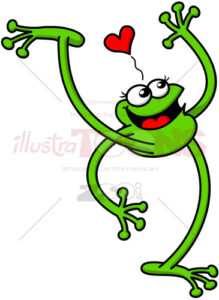 Flirty green frog smiling, waving and falling in love - illustratoons