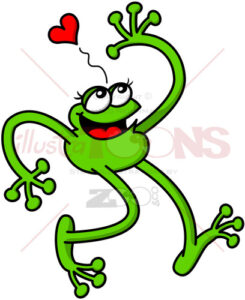 Funny green frog falling in love while waving - illustratoons