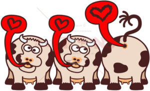Mischievous cows expressing ideas about love - illustratoons