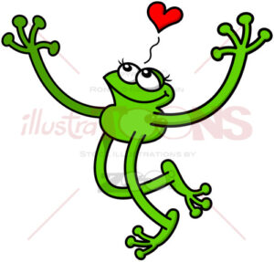 Romantic green frog showing how much in love it feels - illustratoons