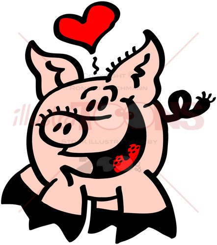 Romantic pig in love showing a heart above its head - illustratoons