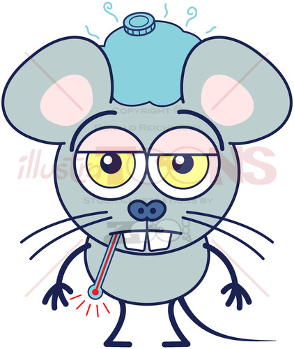 Cute gray mouse feeling sick and showing a sad mood - illustratoons