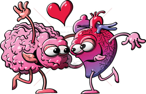 Funny couple of heart and brain madly falling in love - illustratoons