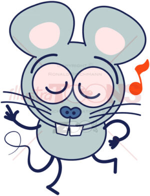 Funny gray mouse dancing animatedly - illustratoons