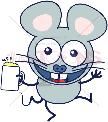 Mouse celebrating animatedly with a mug of beer - illustratoons