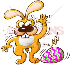 A beautiful Easter egg is cracking and bunny can't avoid it - illustratoons