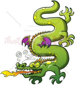 Crocodile like green dragon spitting fire - illustratoons