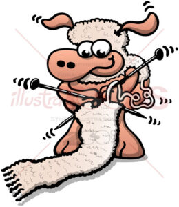 Cute sheep knitting a scarf with its own wool - illustratoons