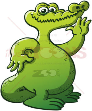 Friendly green crocodile waving and smiling - illustratoons