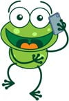 Frog talking on a smartphone