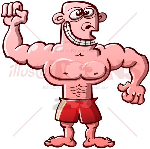 Funny bodybuilder exhibiting his muscles - illustratoons