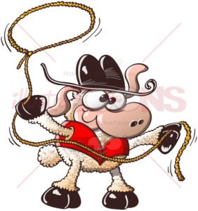 Funny sheep playing the role of a brave cowboy - illustratoons