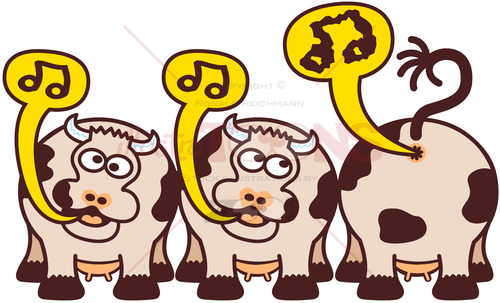 Group of funny cows singing in an odd way - illustratoons