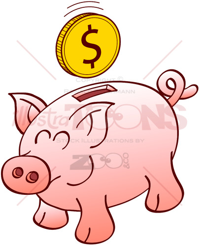 Happy piggy bank smiling when receiving a dollar coin - illustratoons