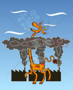 Long-necked giraffe breathing fresh air after escaping pollution cloud - illustratoons