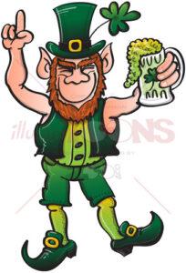 Smiling Leprechaun drinking a toast to Saint Patrick - illustratoons