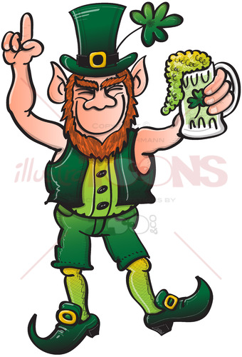 Smiling Leprechaun drinking a toast to Saint Patrick - illustratoons