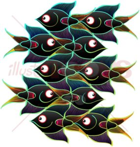 Smiling black fishes forming a seamless pattern - illustratoons