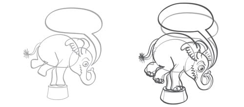 Circus elephant's sketching