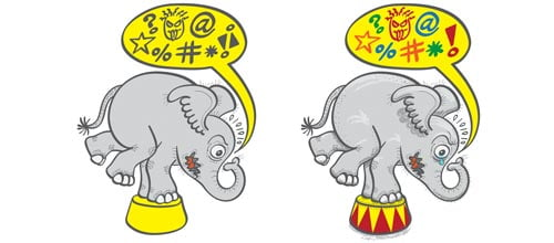 Circus elephant's coloring and shading