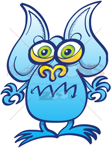 Blue alien showing a surprised but angry mood - illustratoons