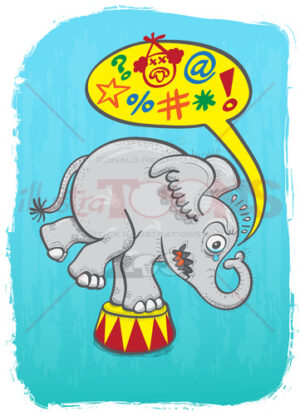 Circus elephant feeling mad and saying bad words - illustratoons