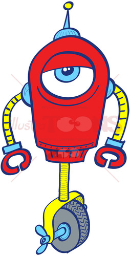 One-eyed metallic red robot in apathetic mood - illustratoons