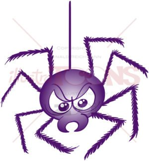 Scary spider hanging from its strong web thread - illustratoons