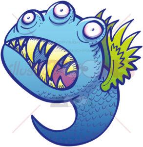 Terrific winged little blue monster in menacing mood - illustratoons