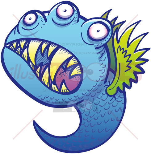 Terrific winged little blue monster in menacing mood - illustratoons