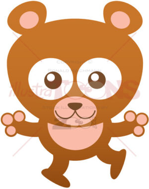Friendly baby bear opening its arms to give you a big hug - illustratoons