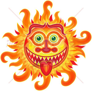 Mischievous summer sun grinning and sticking tongue out - illustratoons