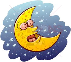 Beautiful crescent moon sleeping placidly - illustratoons