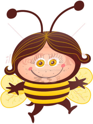 Cute girl wearing a bee costume for Halloween - illustratoons