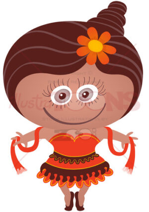Cute girl wearing a dancer costume for Halloween - illustratoons