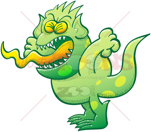 Green monster feeling furious and yelling - illustratoons