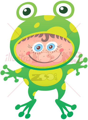 Little girl wearing a frog costume for Halloween - illustratoons