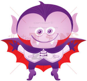 Mischievous boy wearing a Dracula costume for Halloween - illustratoons
