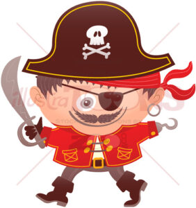 Mischievous boy wearing a pirate costume for Halloween - illustratoons