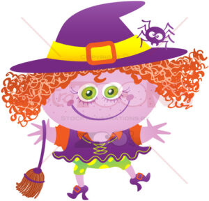 Mischievous girl wearing a witch costume for Halloween - illustratoons