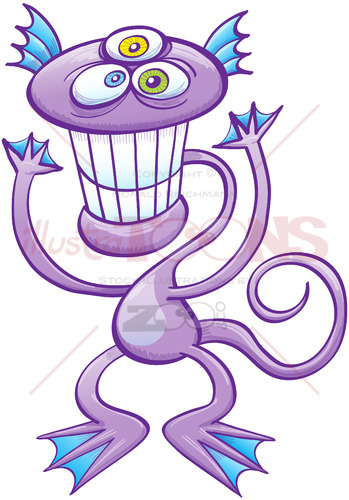 Three-eyed alien grinning and waving - illustratoons