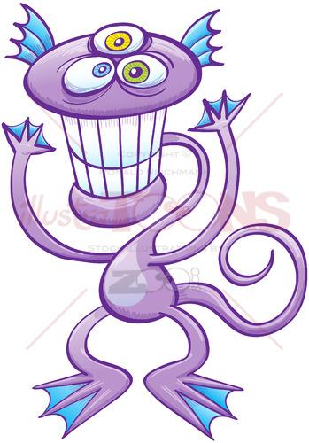 Three-eyed alien grinning and waving - illustratoons