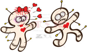 Female voodoo doll in love running after terrified male - illustratoons