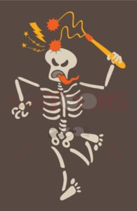 Masochistic skeleton breaking its own skull with a flail - illustratoons