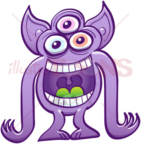 Three-eyed alien having fun by laughing mischievously - illustratoons