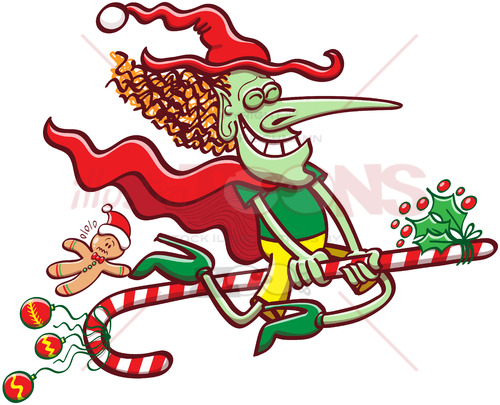 Christmas witch flying on a candy cane - illustratoons