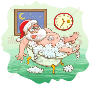 Exhausted Santa Claus taking a bubble bath - illustratoons