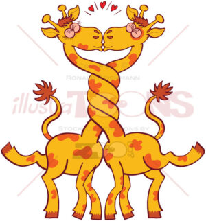Giraffes in love intertwining necks and kissing - illustratoons